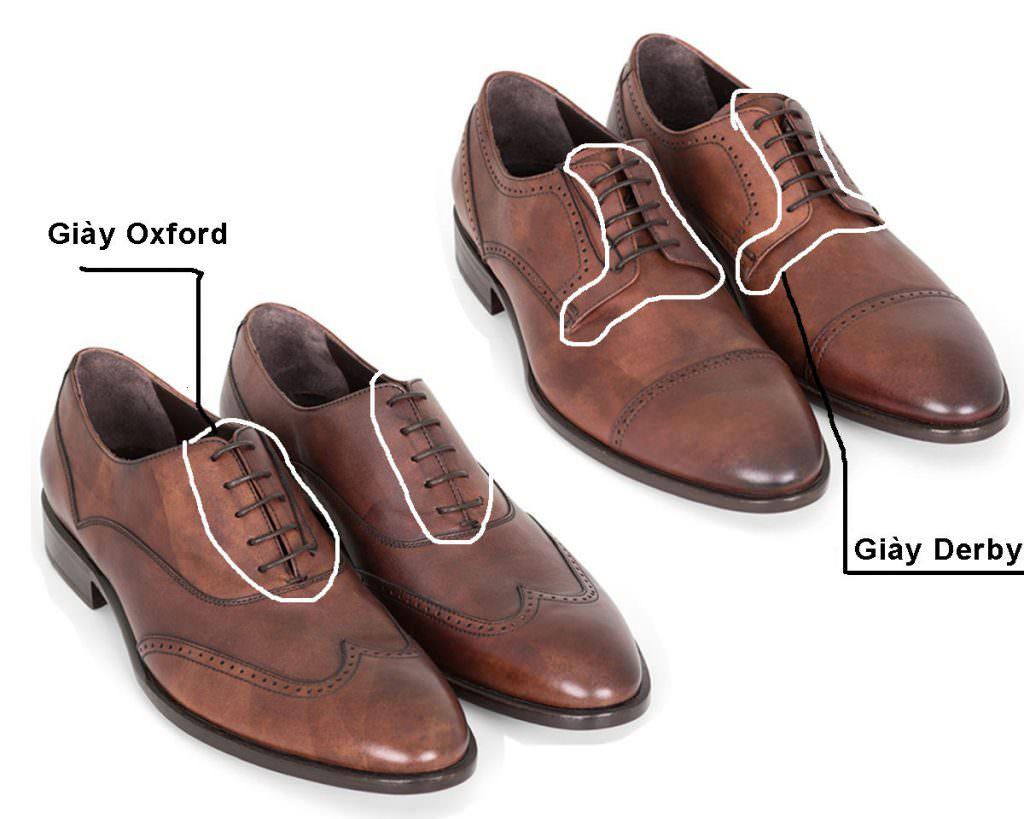 sự khác nhau giữa giày oxford và giày derby